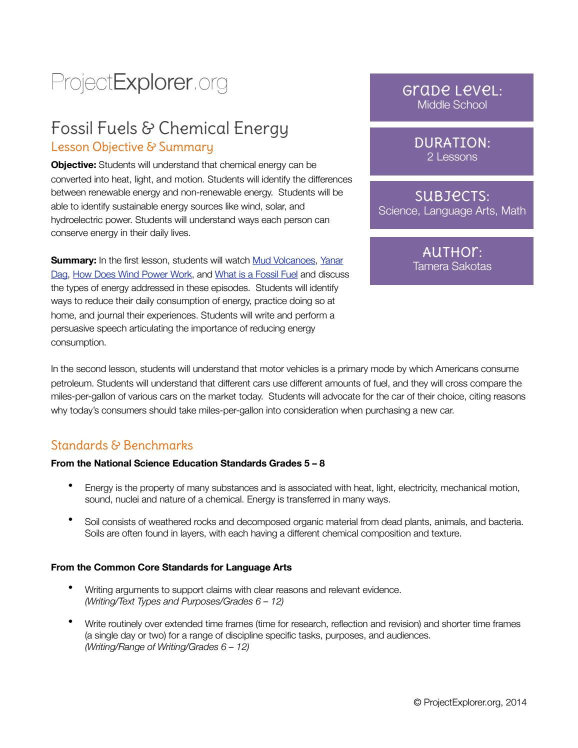 Fossil Fuels Worksheet Middle School Fossil Fuels & Chemical Energy Middle School by Pe
