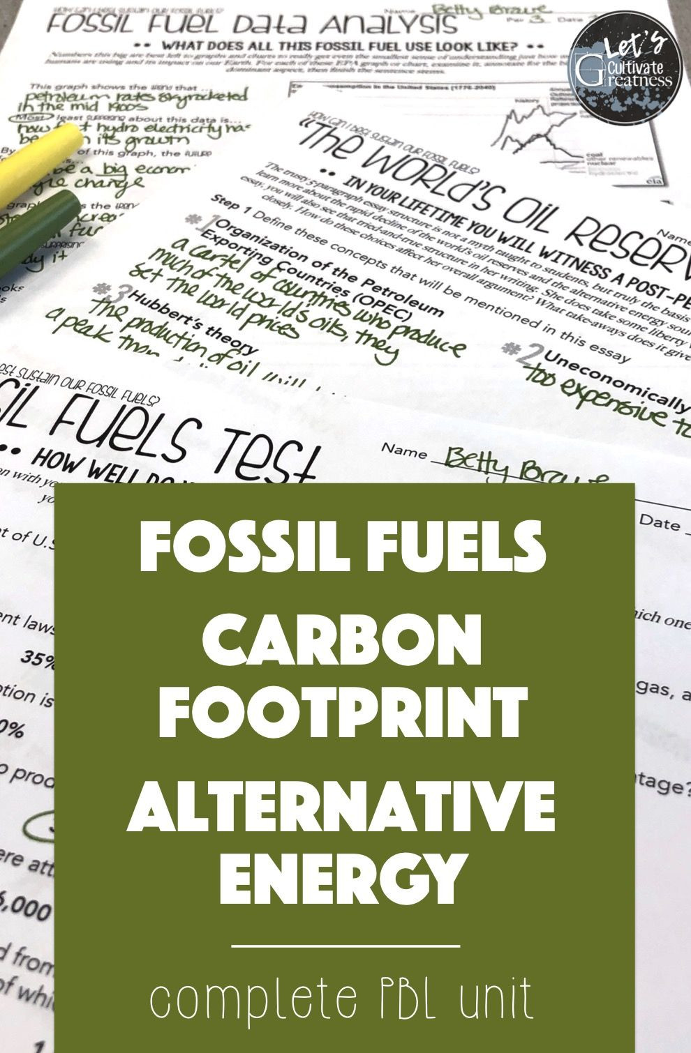 Fossil Fuels Worksheet Middle School Fossil Fuels and Renewable Energy Unit Pbl