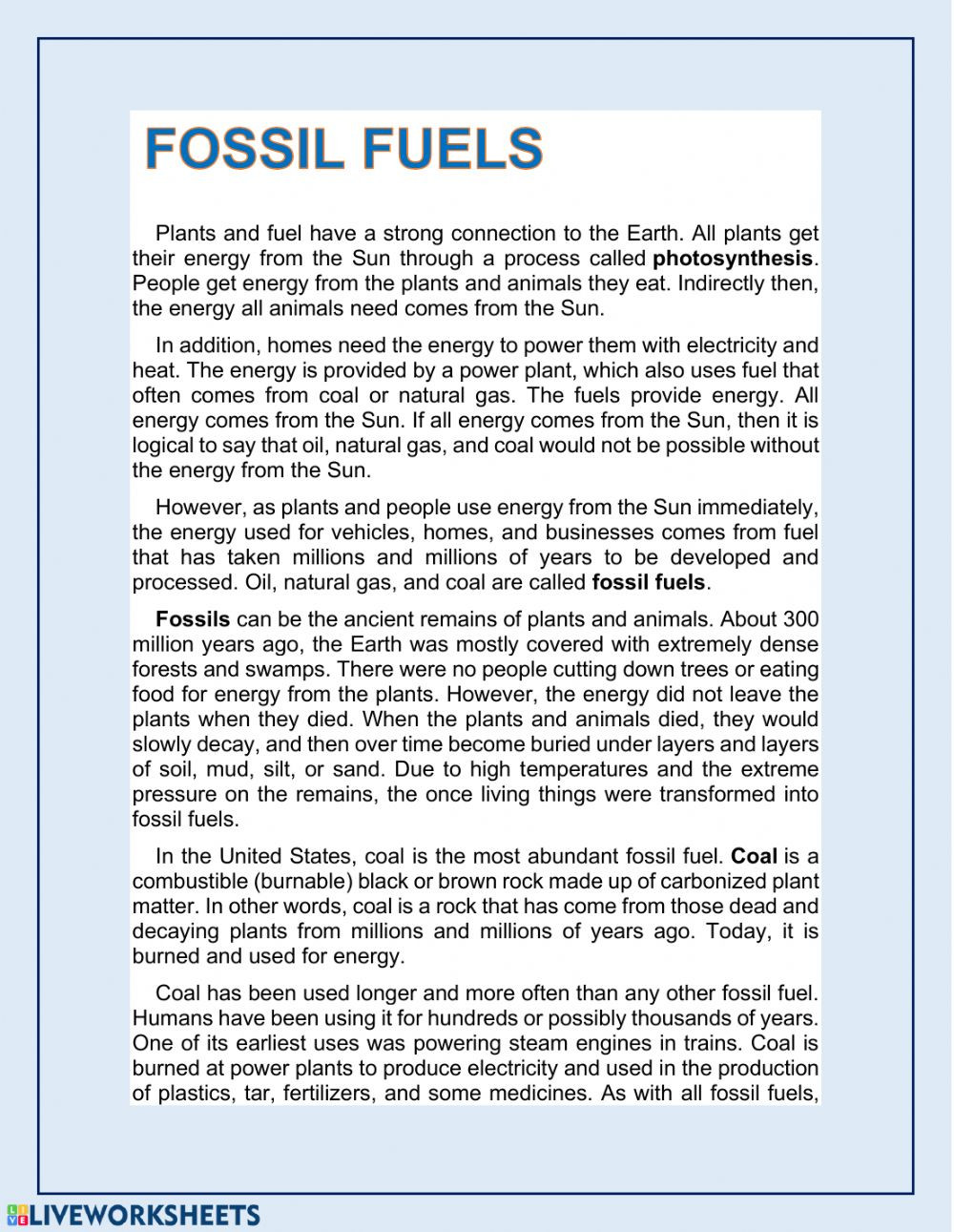 Fossil Fuels Worksheet Middle School Fossil Fuels Interactive Worksheet