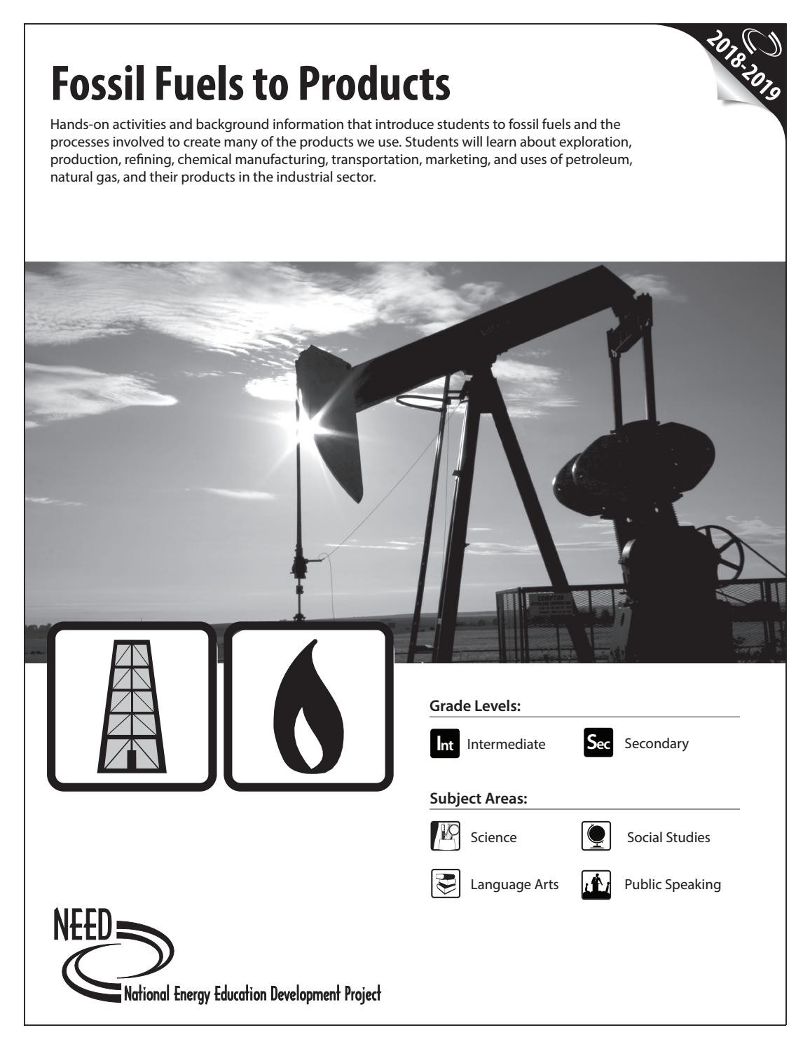Fossil Fuels Worksheet Middle School Fossil Fuels to Products by Need Project issuu