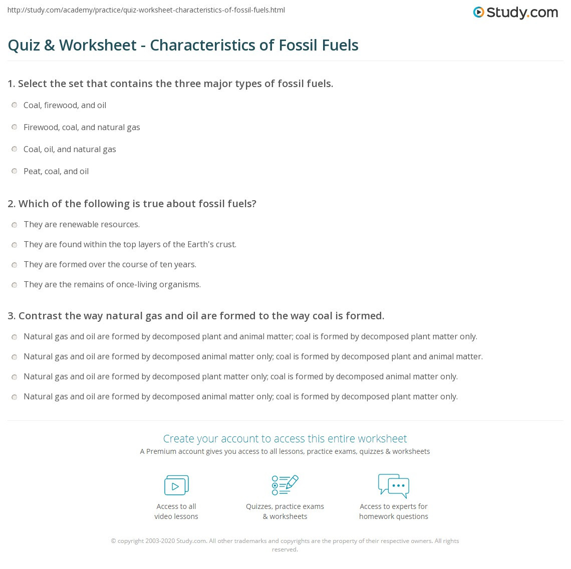 Fossil Fuels Worksheet Middle School Quiz & Worksheet Characteristics Of Fossil Fuels