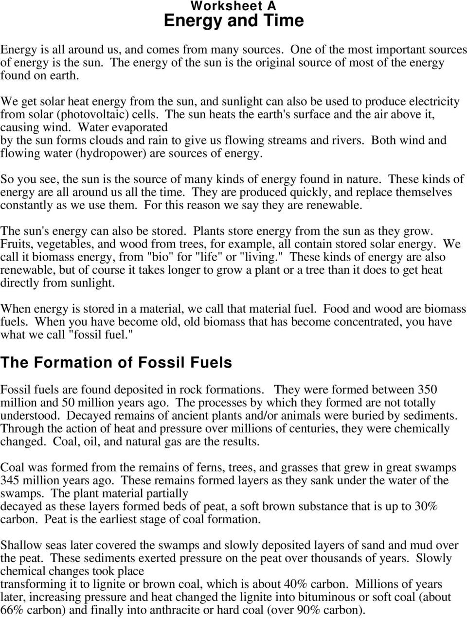 Fossil Fuels Worksheet Middle School the formation Of Fossil Fuels Pdf Free Download