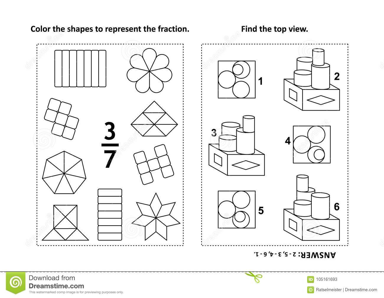 Fraction Coloring Worksheets 5th Grade Fraction Coloring Worksheets Educational Math Activity Page