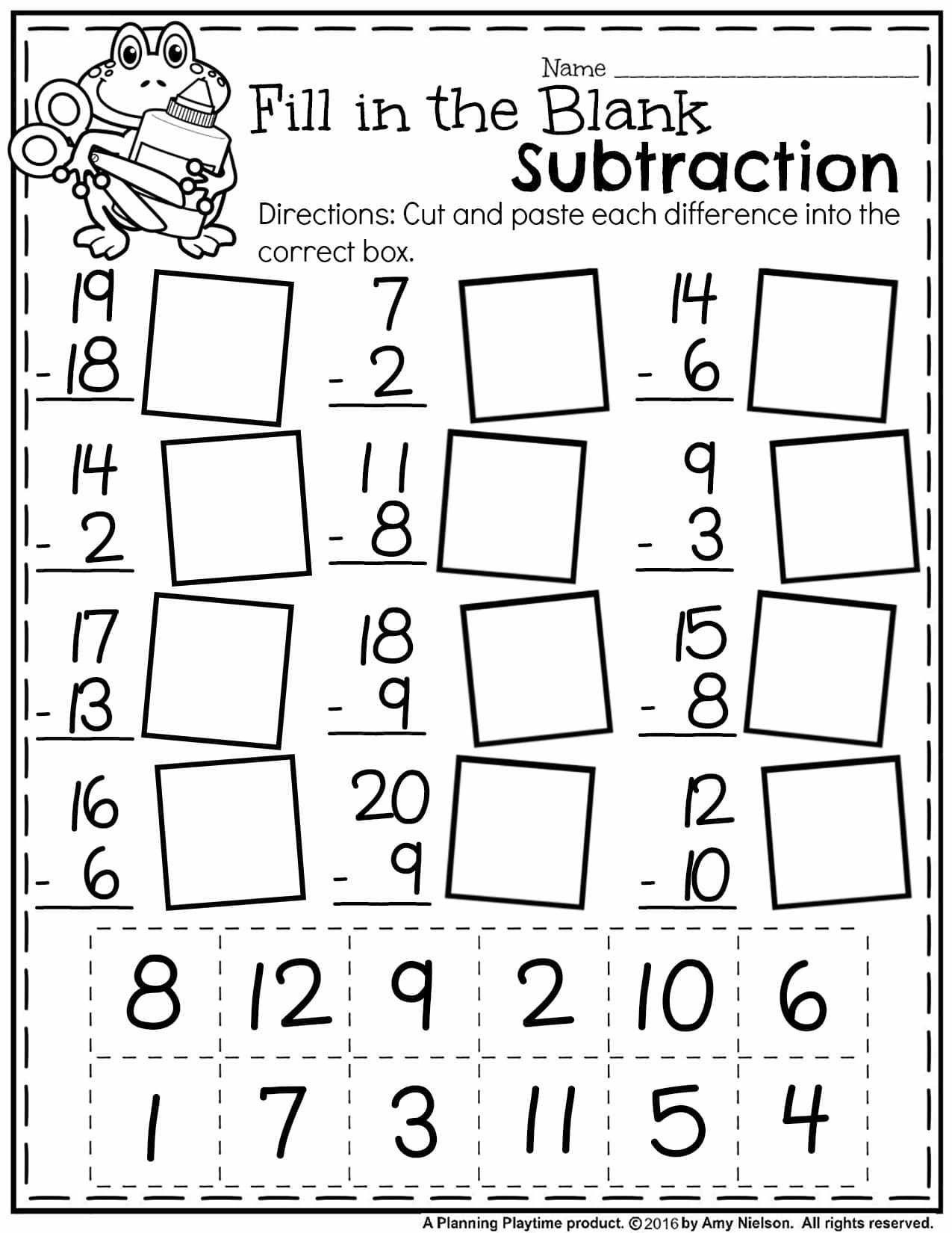 Fraction Worksheets for 1st Grade Free Math Worksheets First Grade Subtraction Single Digit