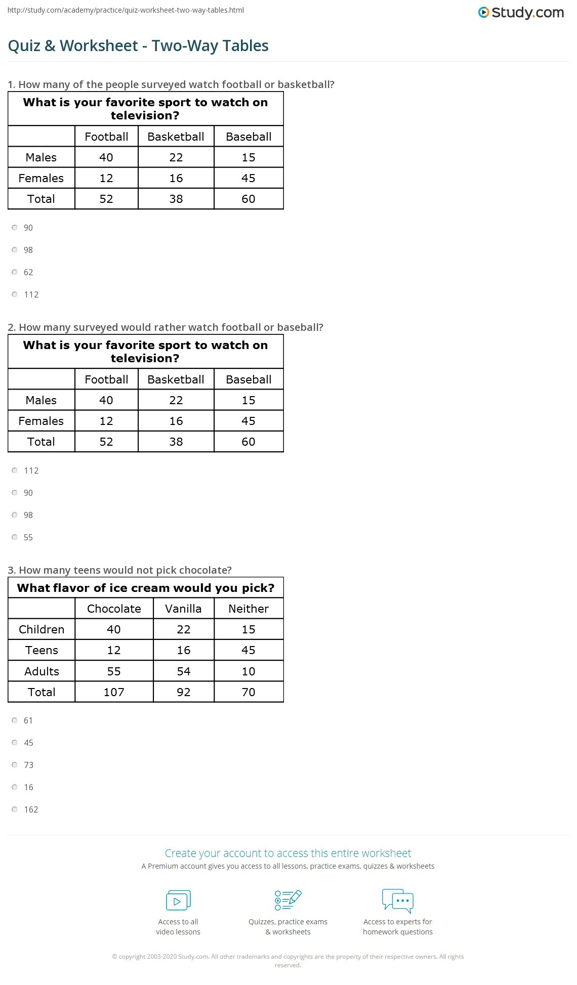 Frequency Table Worksheet 6th Grade 31 2 Way Frequency Table Worksheet Worksheet Resource Plans