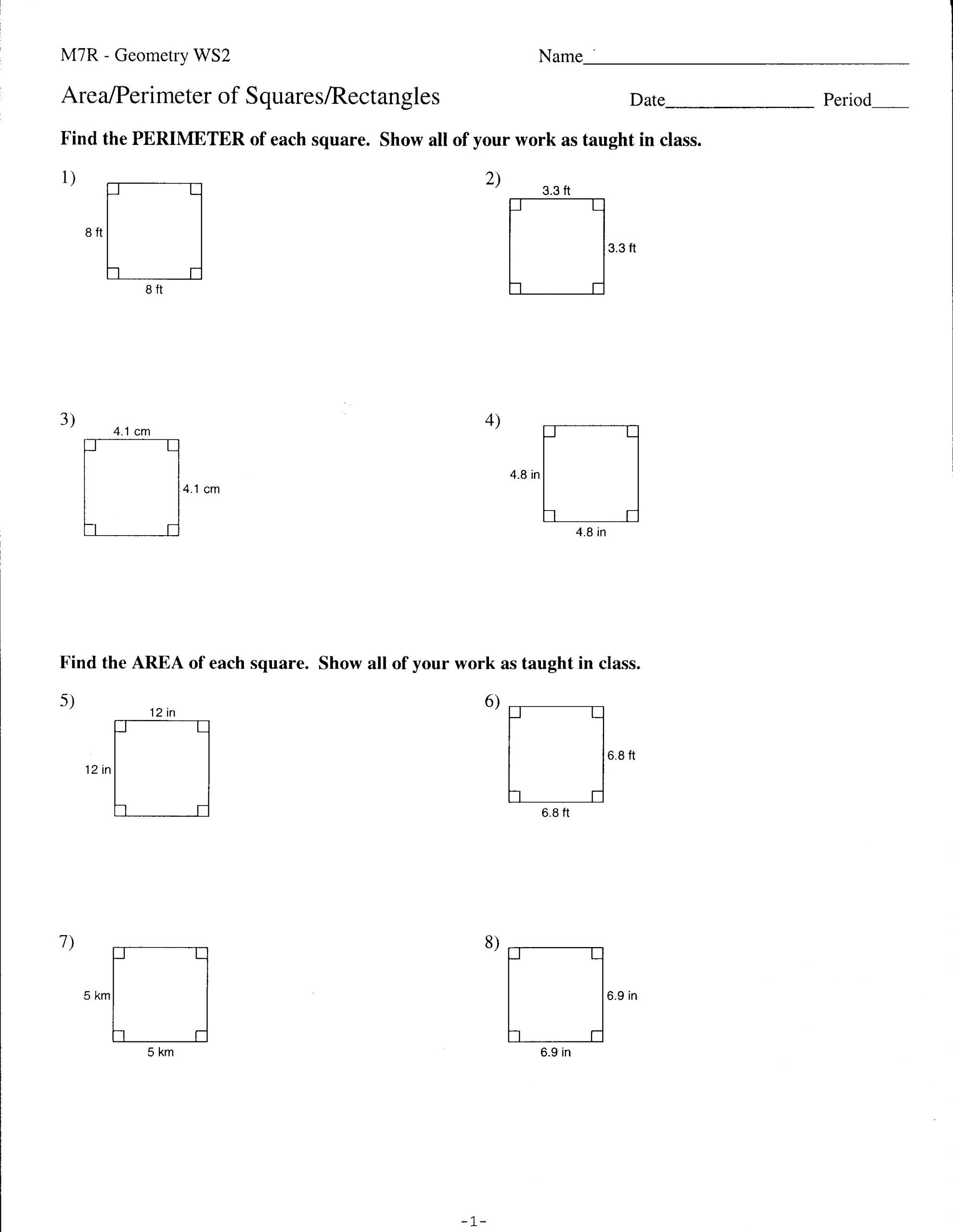 Geometry Worksheets 10th Grade area and Perimmeter Of Squares and Rectangles