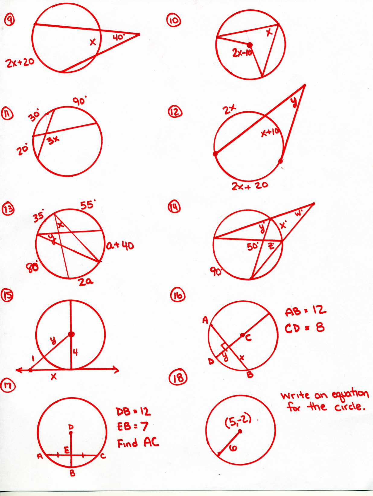 Geometry Worksheets 10th Grade Circle theorems Homework Geometry Worksheets Grade Ch