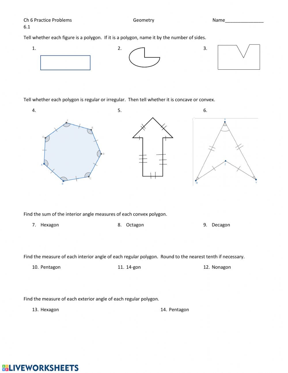 Geometry Worksheets 10th Grade Polygons and Quadrilaterals Interactive Worksheet