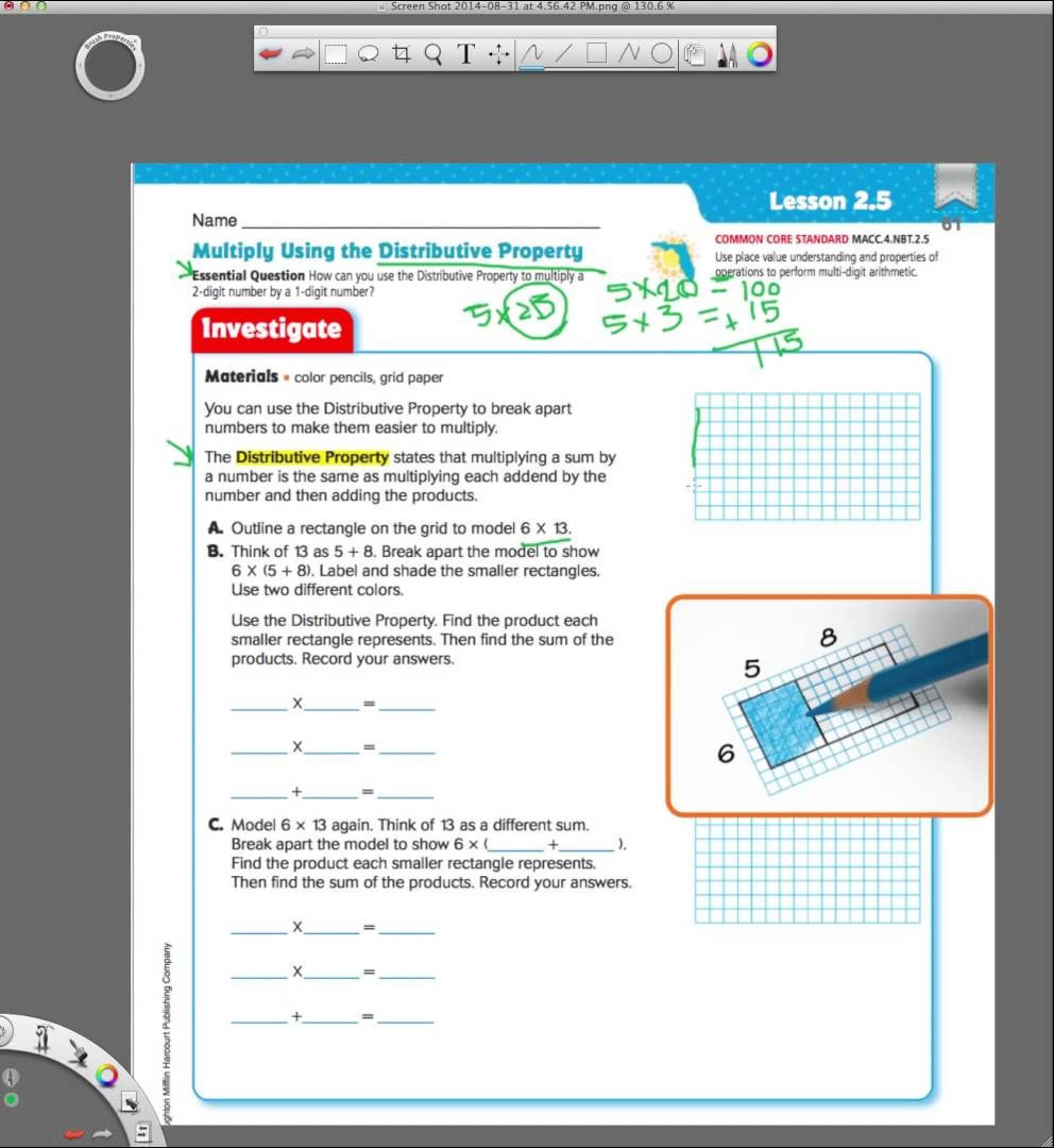 Go Math Grade 4 Worksheets Go Math 2 5 Multiplying Using the Distributive Property