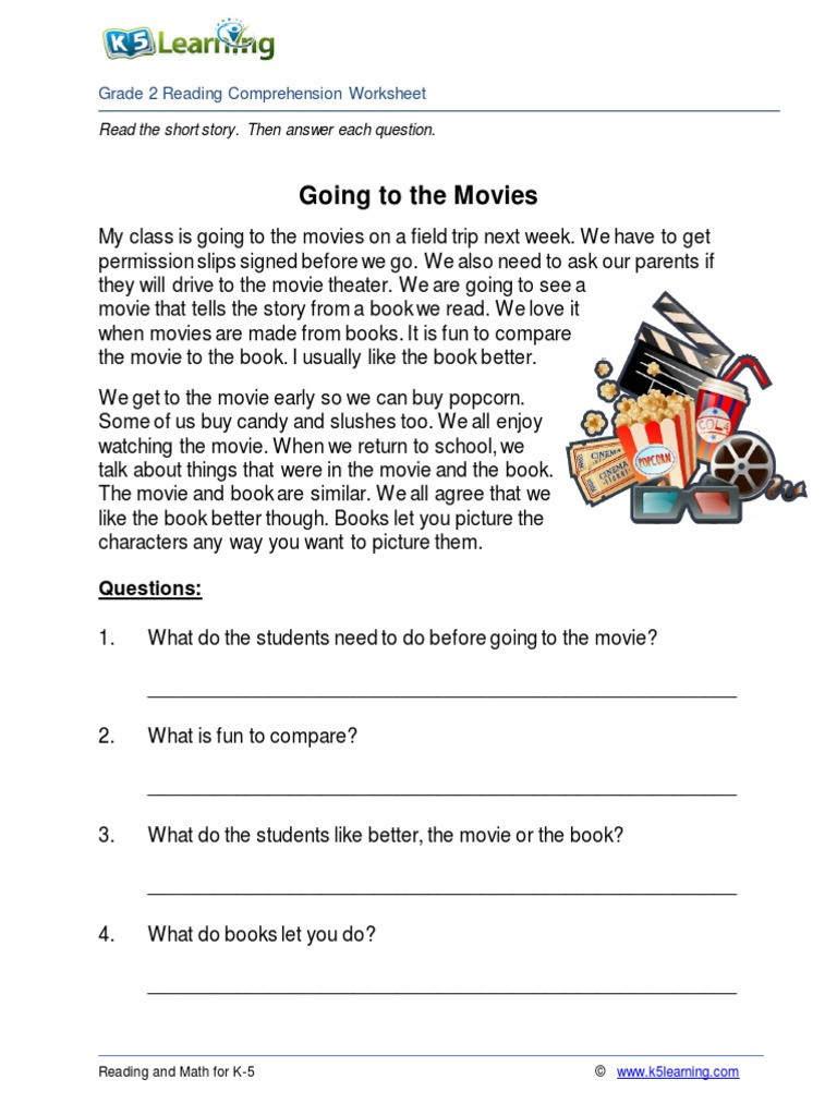 Grade 2 Reading Comprehension Worksheets 2nd Grade 2 Reading Prehension Worksheet Going Movies
