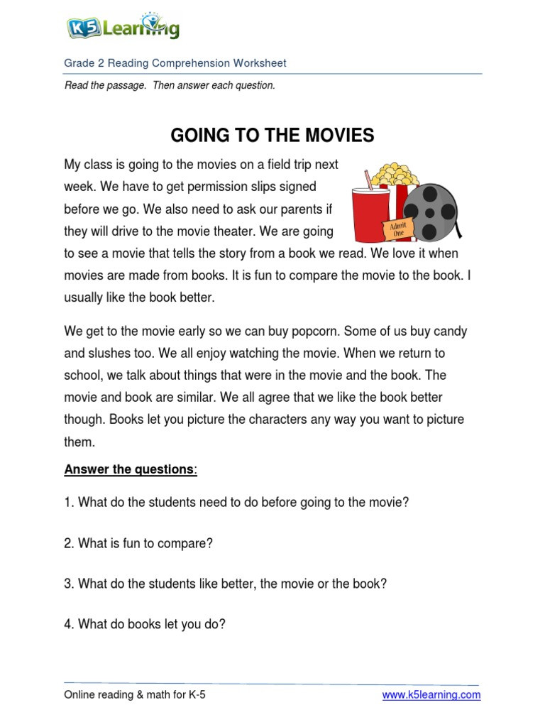 Grade 2 Reading Comprehension Worksheets 2nd Grade 2 Reading Prehension Worksheet Going Movies Pdf