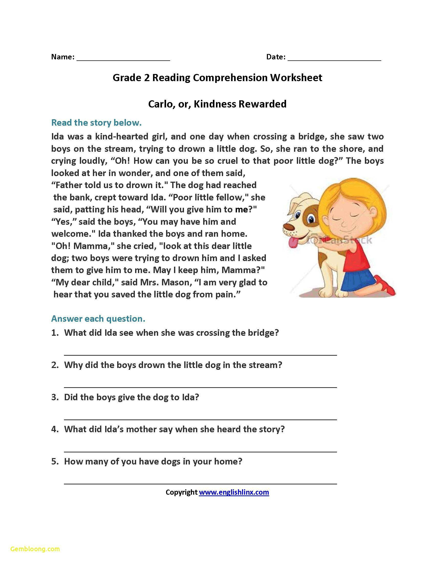 Grade 2 Reading Comprehension Worksheets Math Worksheet Year 1 Reading Prehension Worksheets