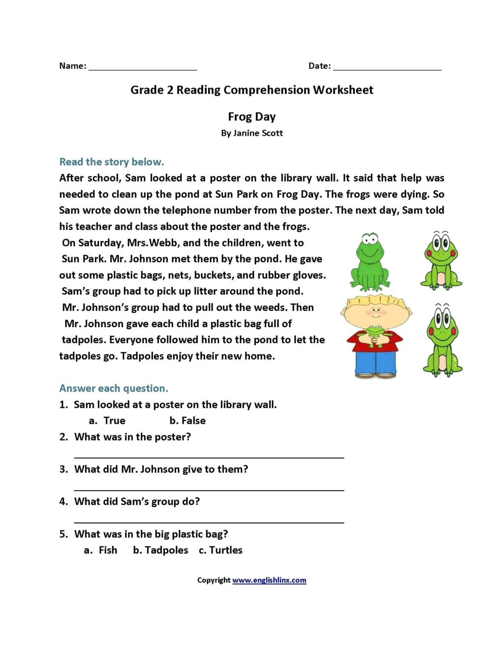 Grade 2 Reading Comprehension Worksheets Worksheet Amazing Free Printable First Grade Reading