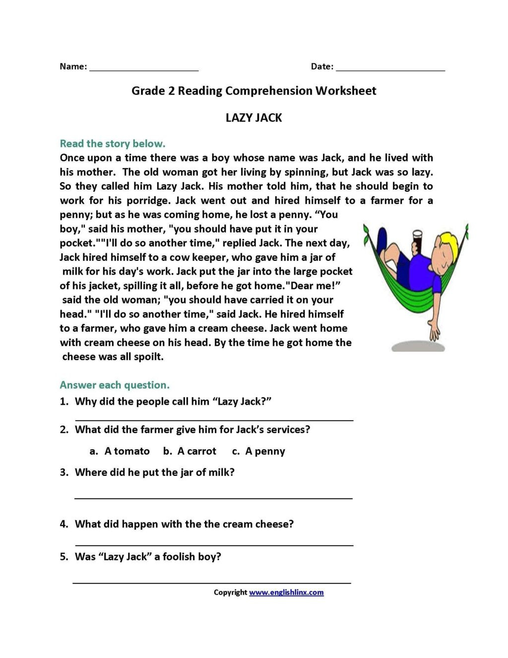 Grade 2 Reading Comprehension Worksheets Worksheet Reading Prehension Worksheets for 2ndade as