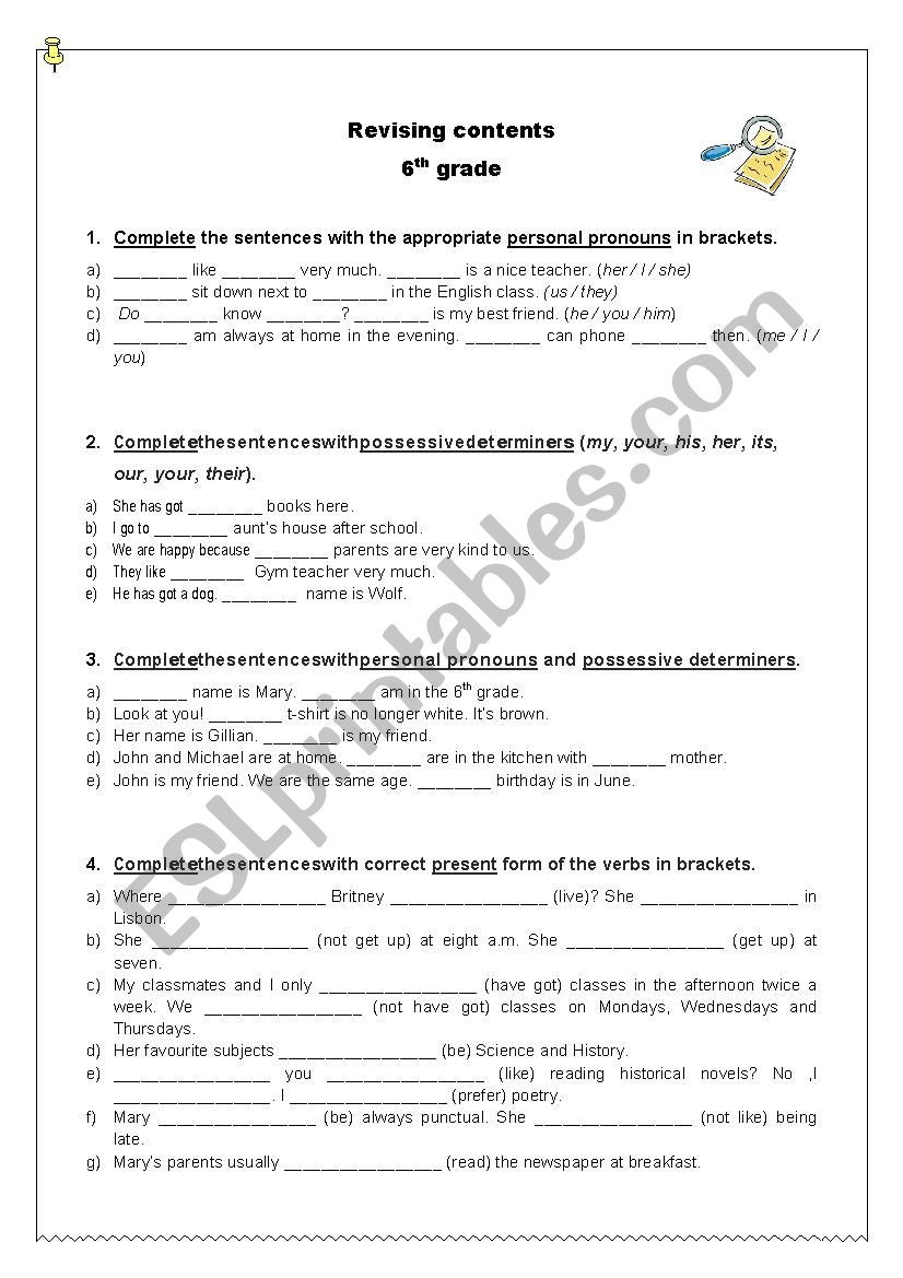 Grammar Worksheet 6th Grade Revising Grammar Contents 6th Grade Esl Worksheet by