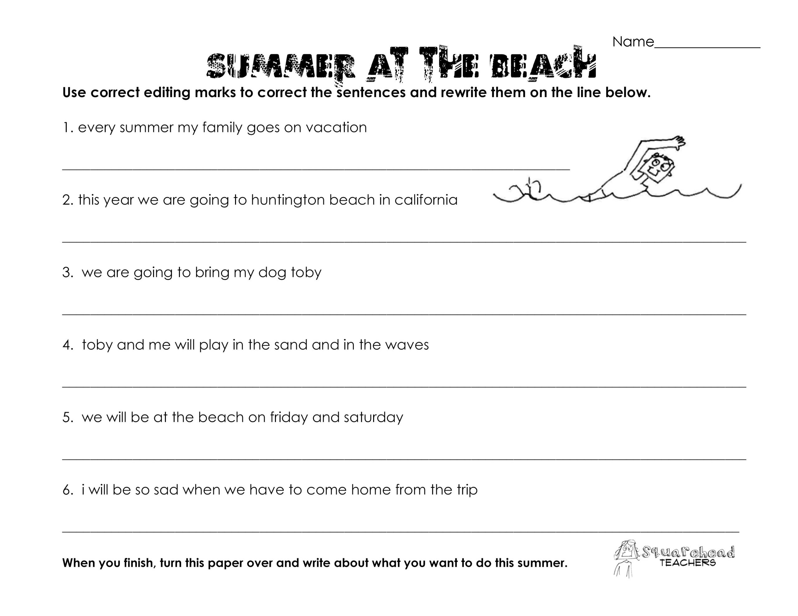 Grammar Worksheets 6th Graders Summer at the Beach Grammar Worksheet
