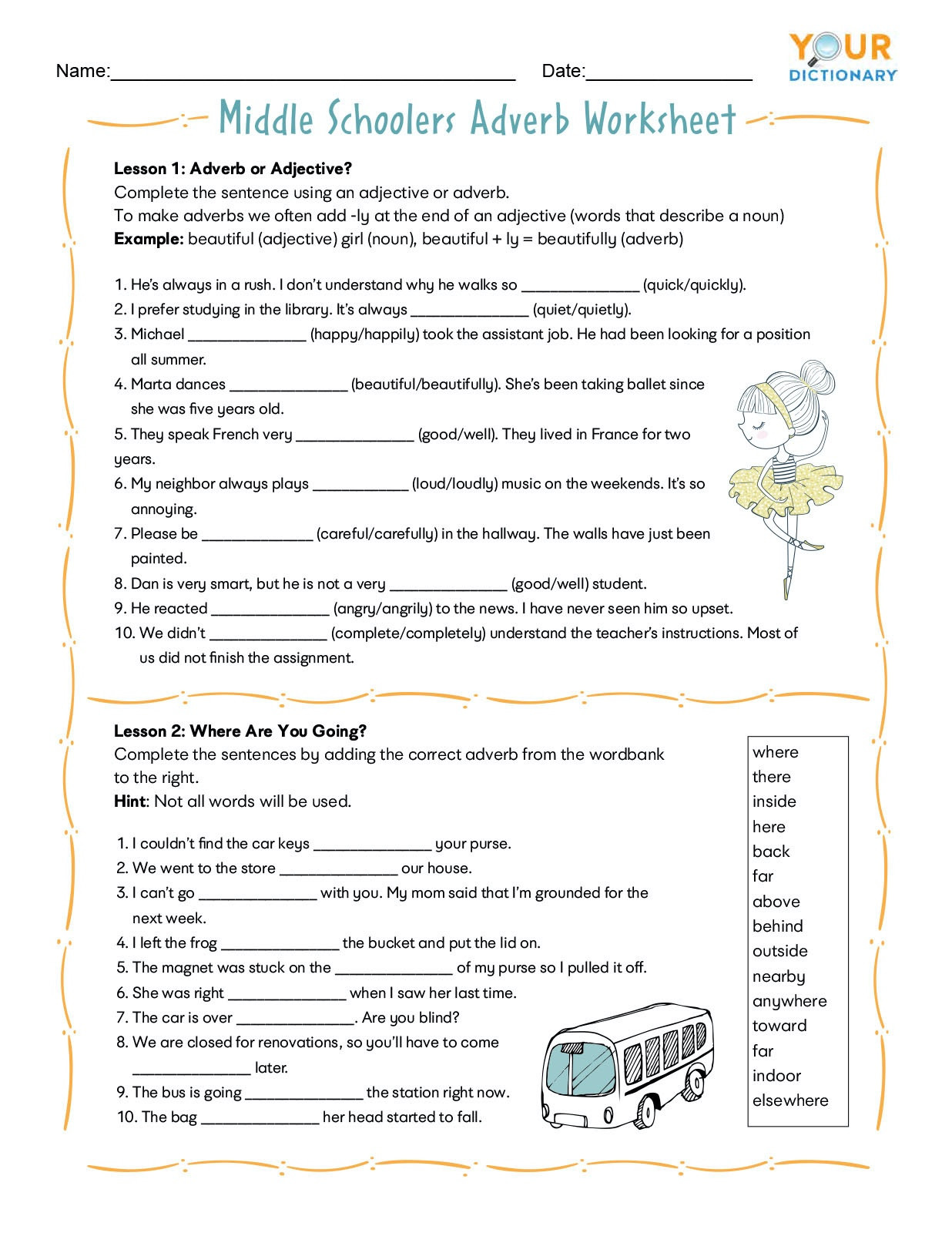 Grammar Worksheets for Grade 6 Adverb Worksheets for Elementary and Middle School