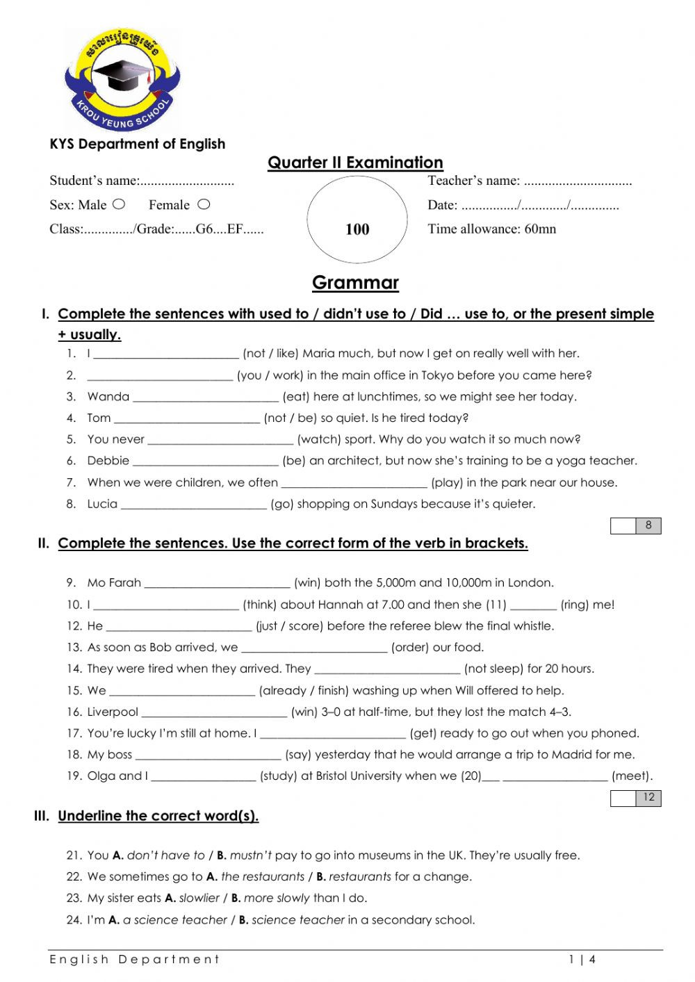Grammar Worksheets for Grade 6 Grade 6 English File Grammar Test Interactive Worksheet