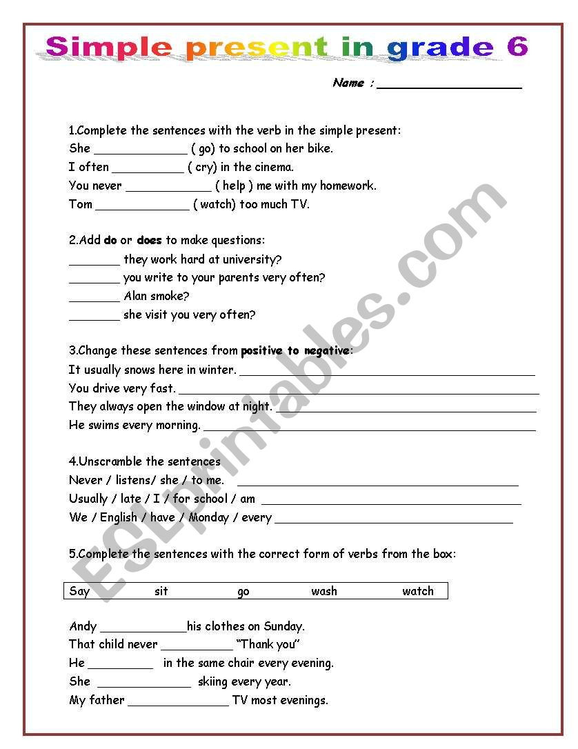 Grammar Worksheets for Grade 6 Simple Present In Grade 6 Esl Worksheet by Mako5