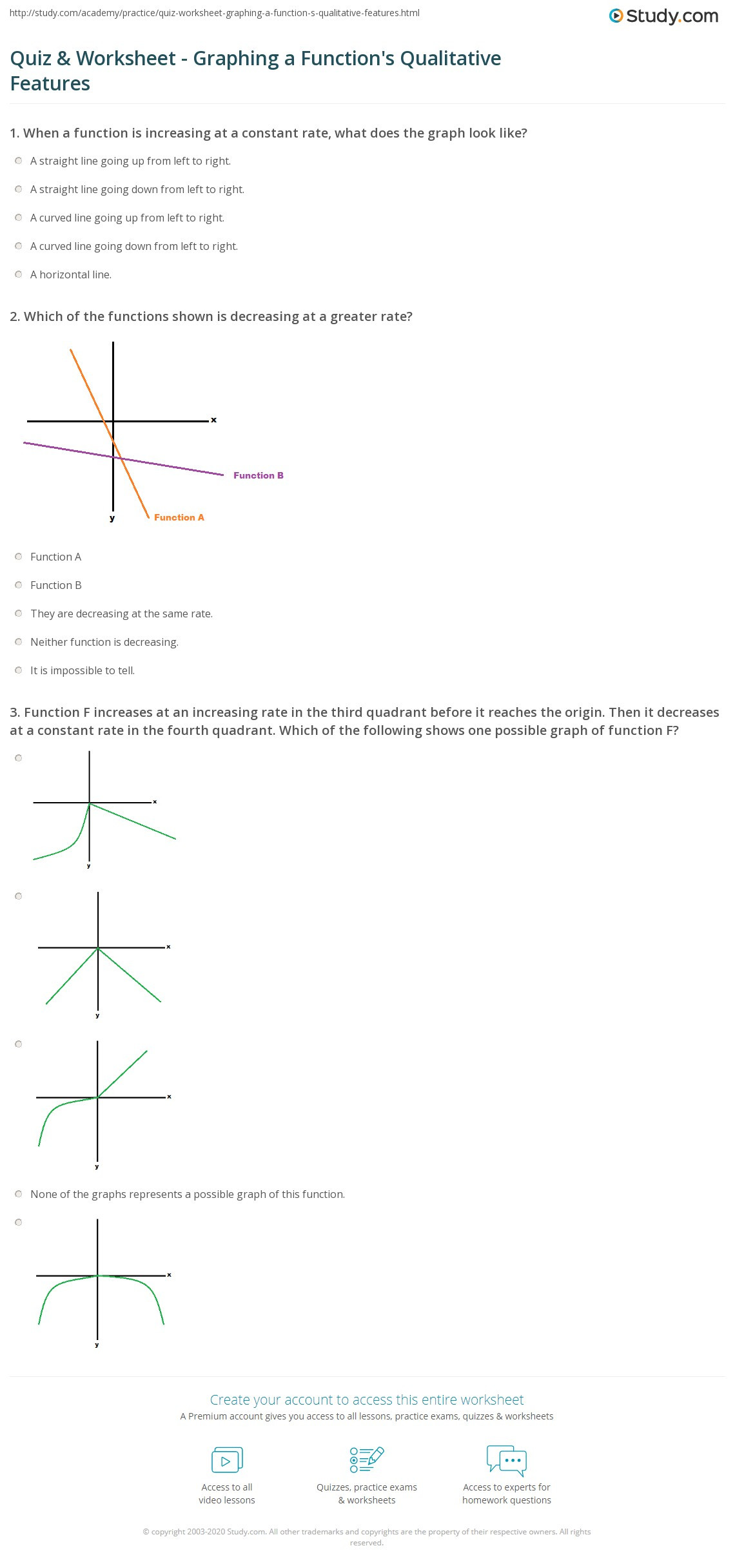 Graphing Worksheets High School Science Quiz & Worksheet Graphing A Function S Qualitative