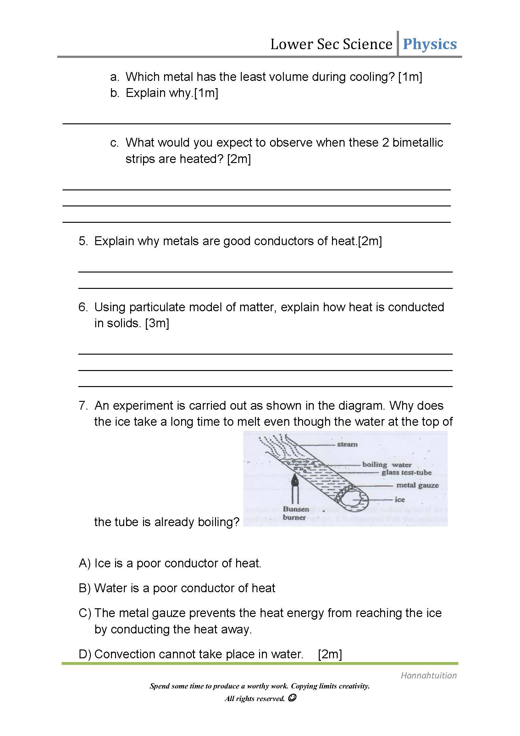 Heat Transfer Worksheet Middle School Heat Transfer Heat Transfer Worksheet