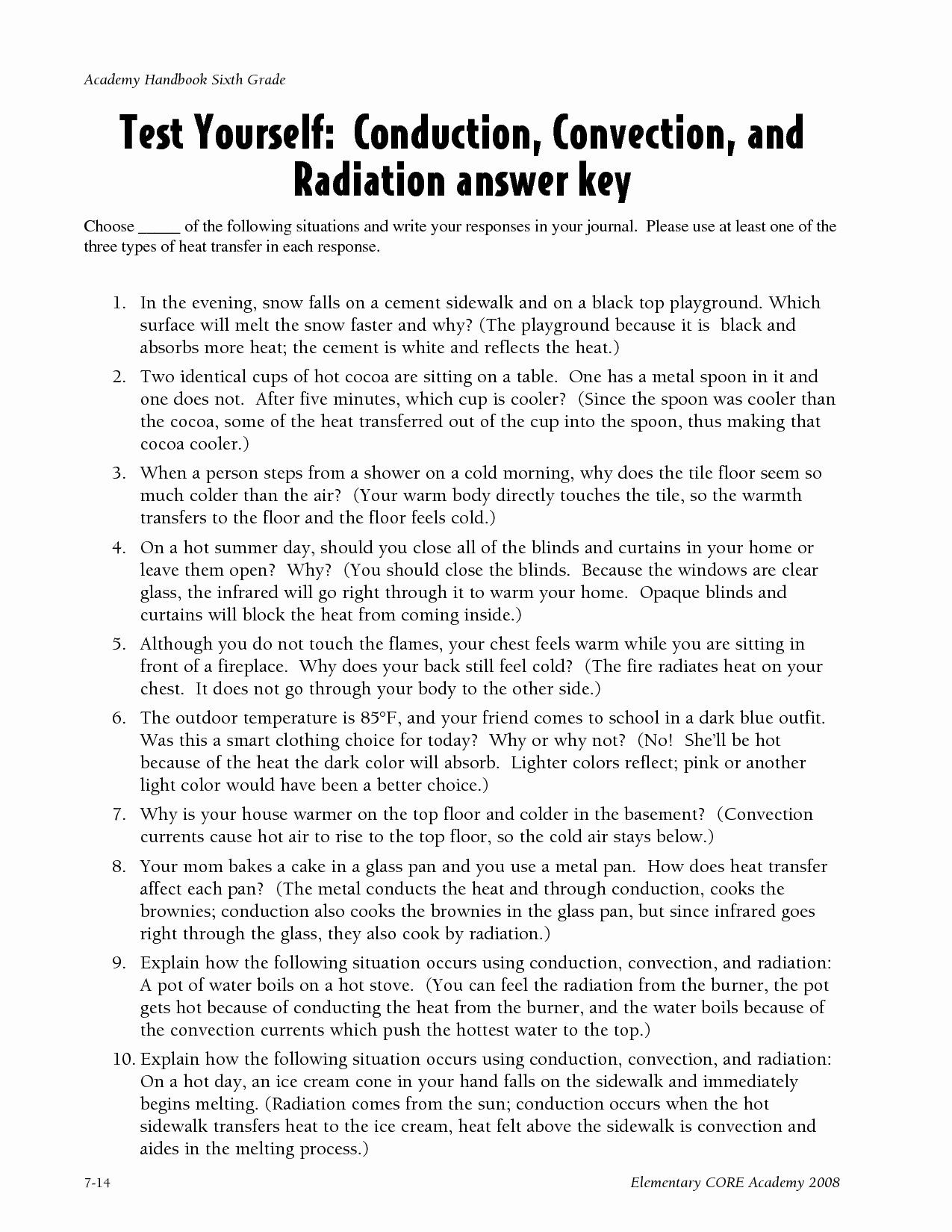 Heat Transfer Worksheet Middle School Heat Transfer Problems Worksheet