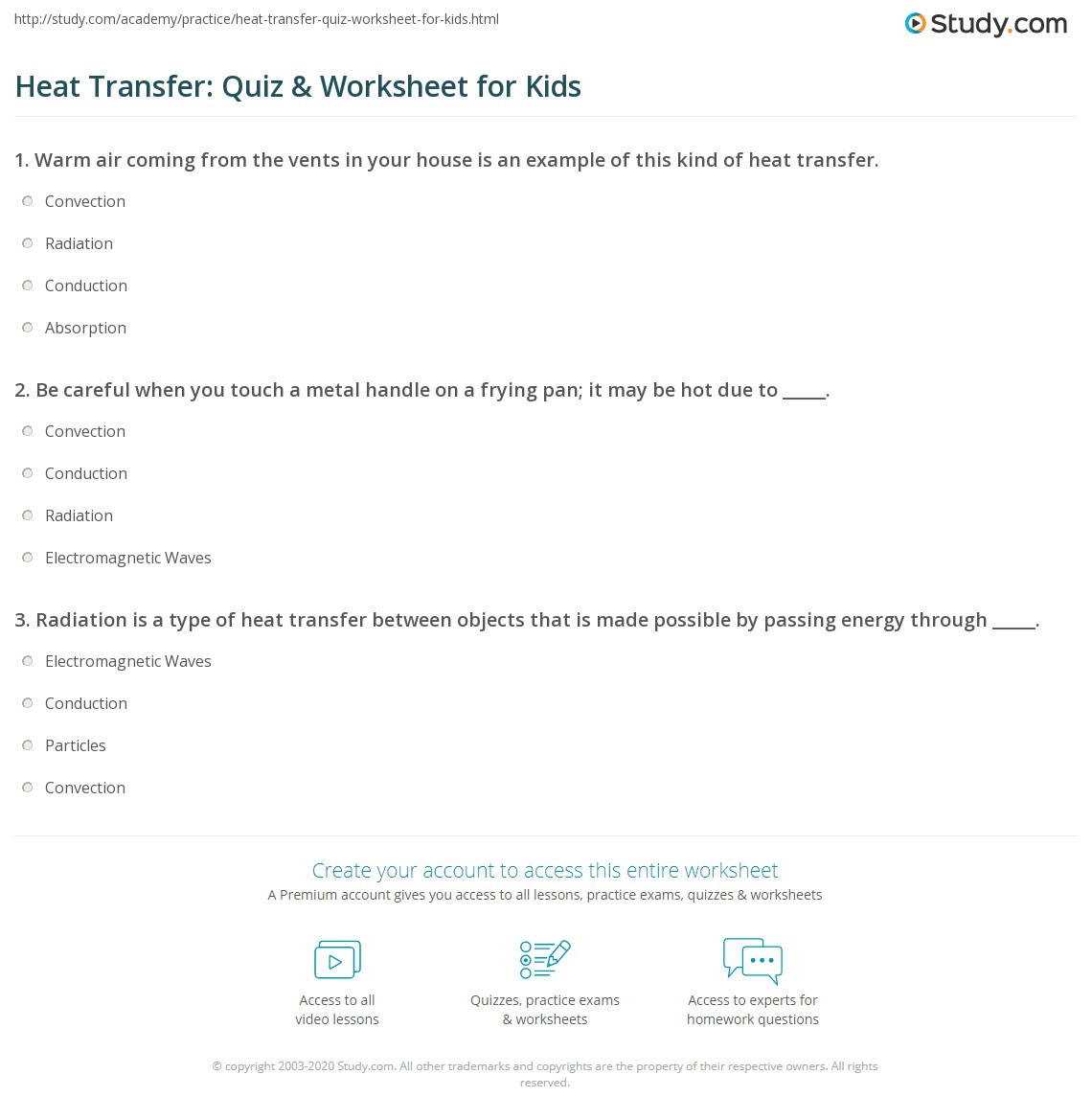 Heat Transfer Worksheet Middle School Heat Transfer Quiz & Worksheet for Kids