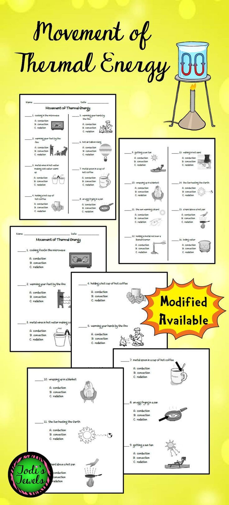 Heat Transfer Worksheet Middle School Movement Of thermal Energy Ws