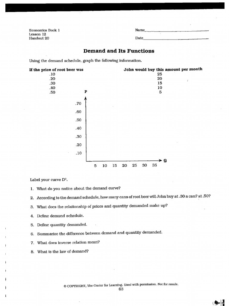 High School Economics Worksheets Demand Worksheet Igcse