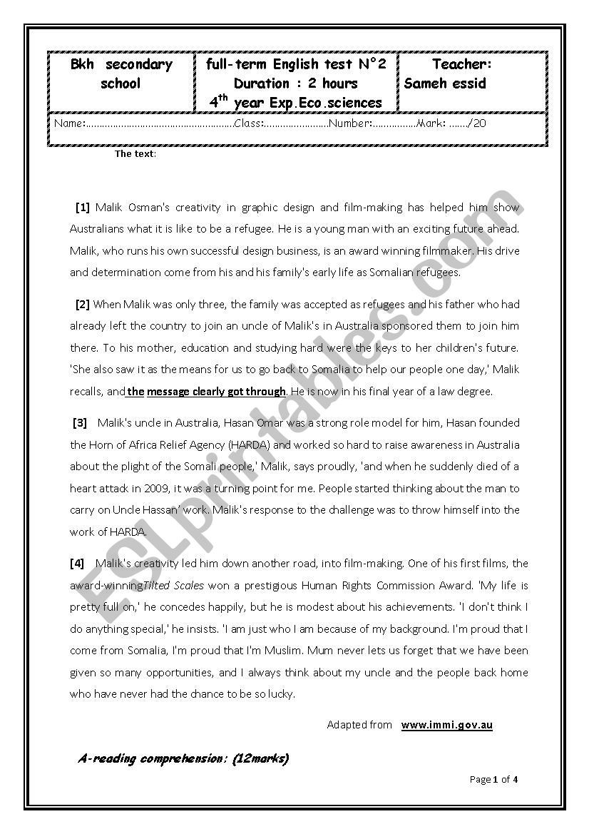 High School Economics Worksheets Over All Test N 2 4th forms Economics Esl Worksheet by