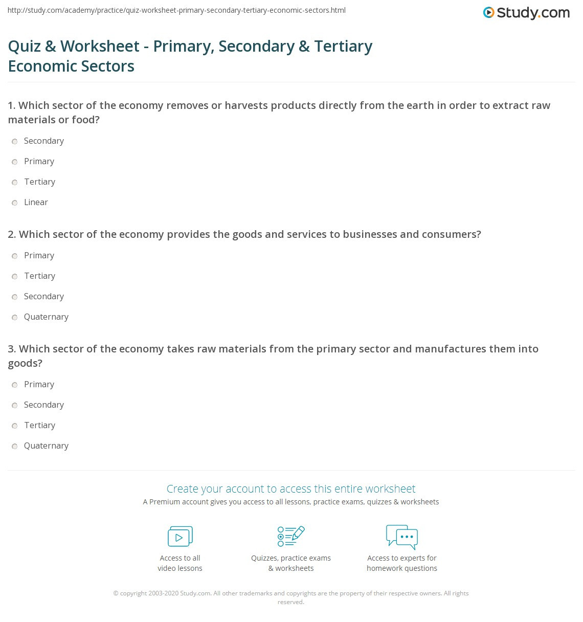 High School Economics Worksheets Quiz & Worksheet Primary Secondary & Tertiary Economic