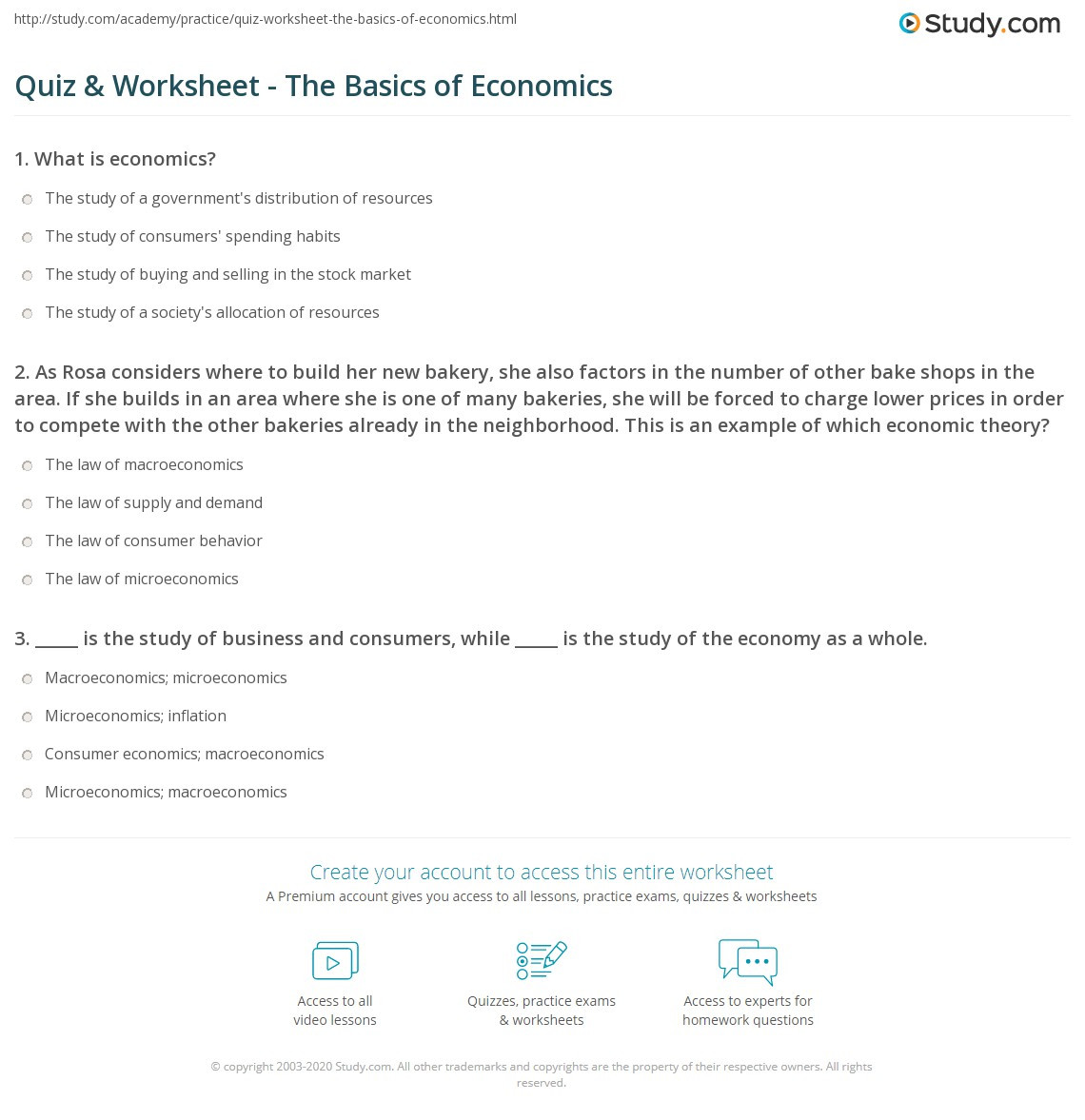 High School Economics Worksheets Quiz & Worksheet the Basics Of Economics