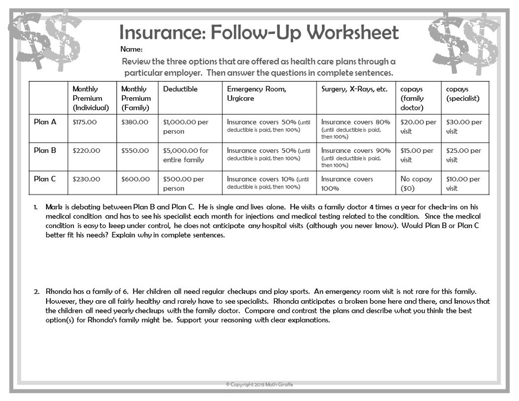 High School Economics Worksheets Teaching Personal Finance to Teens Financial Math Worksheets