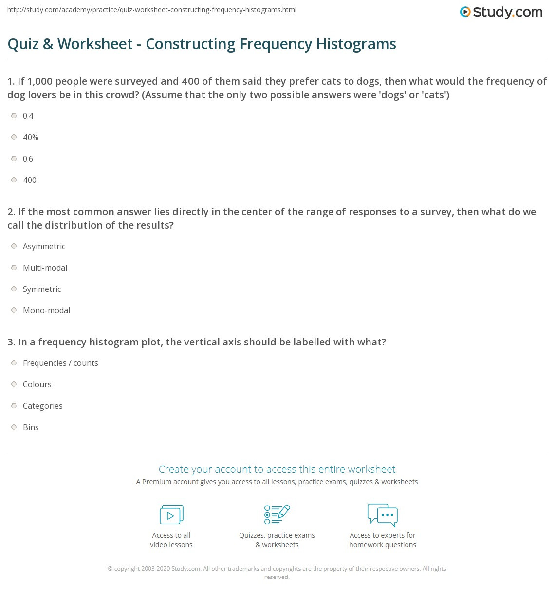 Histogram Worksheet Middle School Quiz & Worksheet Constructing Frequency Histograms