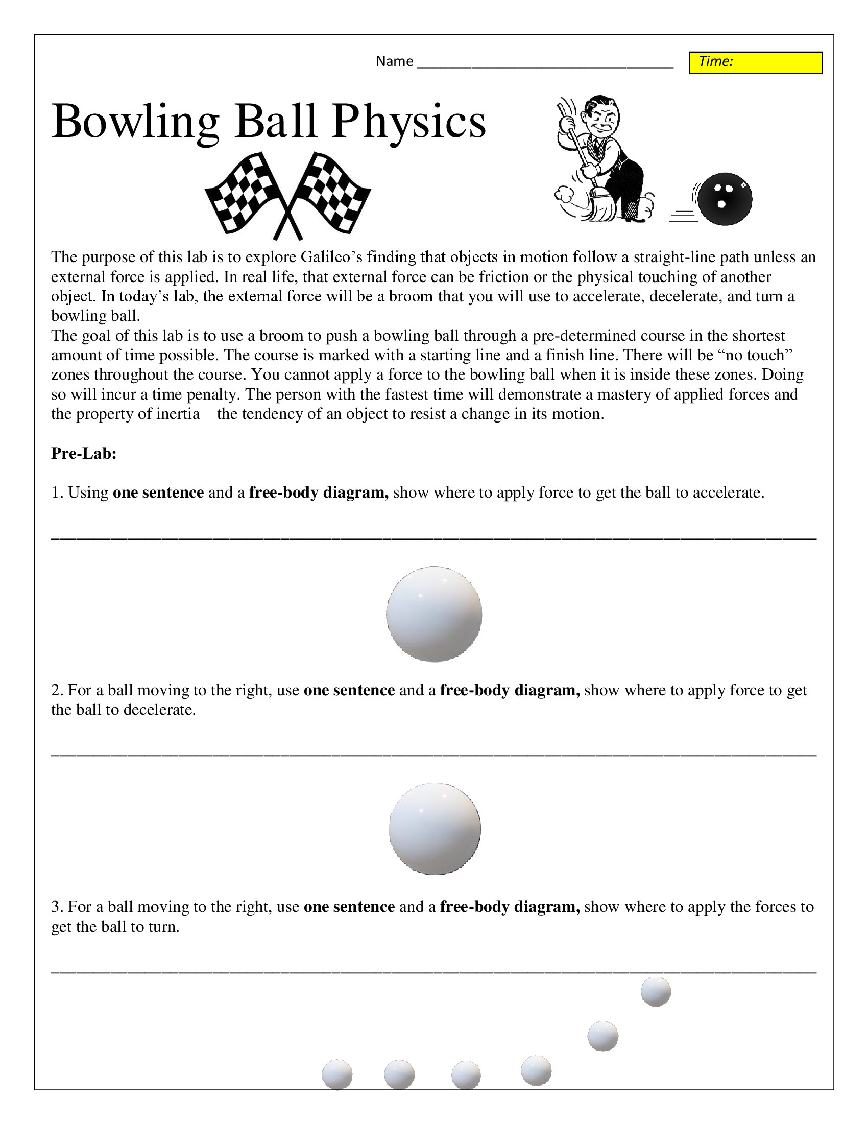 Inertia Worksheet Middle School Bowling Ball Inertia and Motion Lab