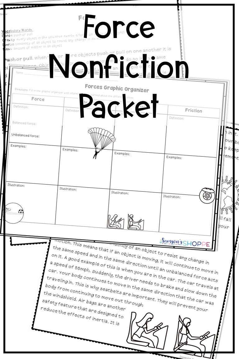 Inertia Worksheet Middle School forces Nonfiction Worksheet Activity