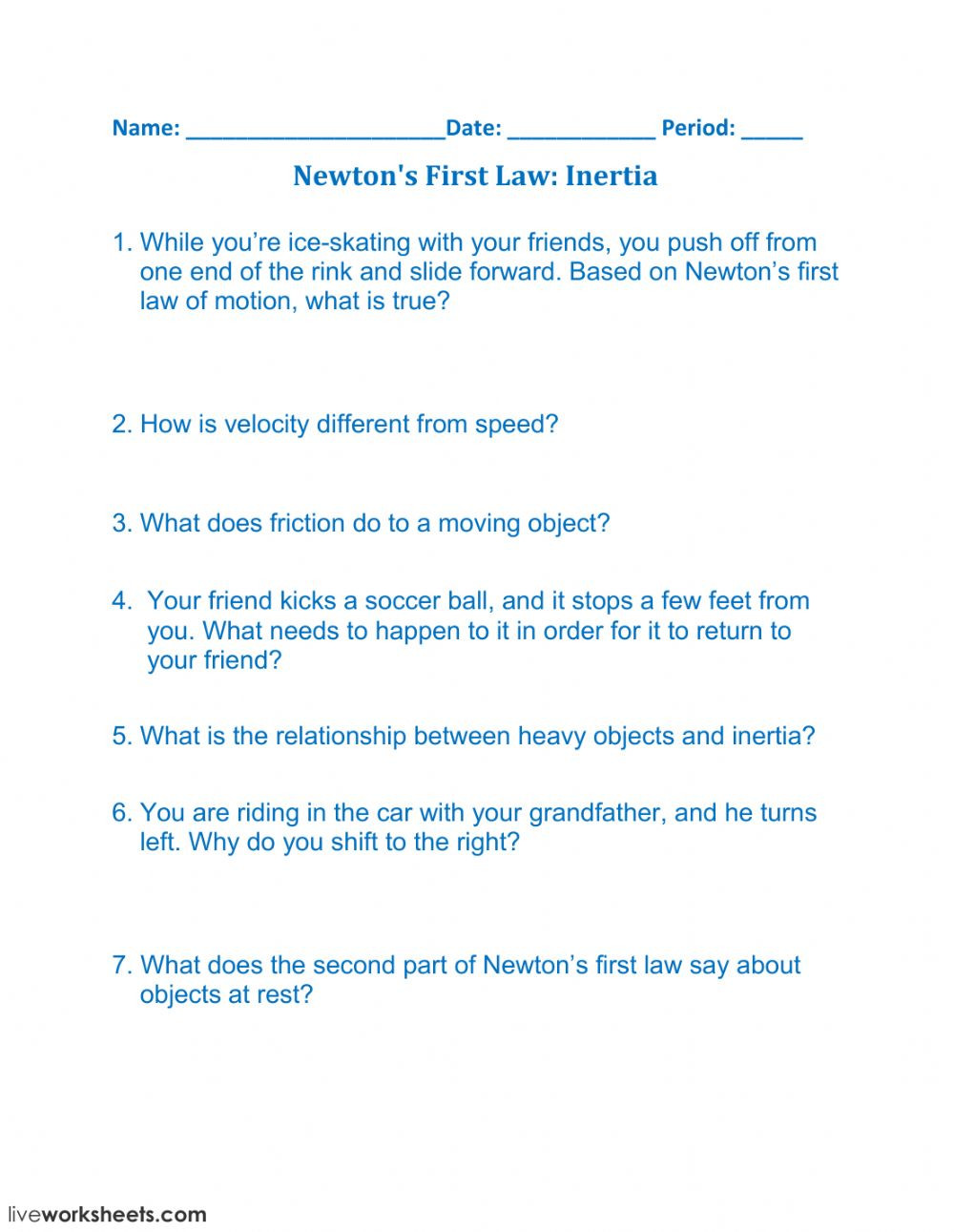 Inertia Worksheet Middle School Newton S First Law Inertia Interactive Worksheet
