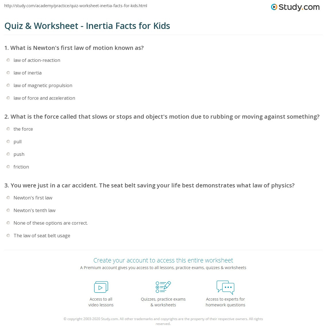 Inertia Worksheet Middle School Quiz & Worksheet Inertia Facts for Kids