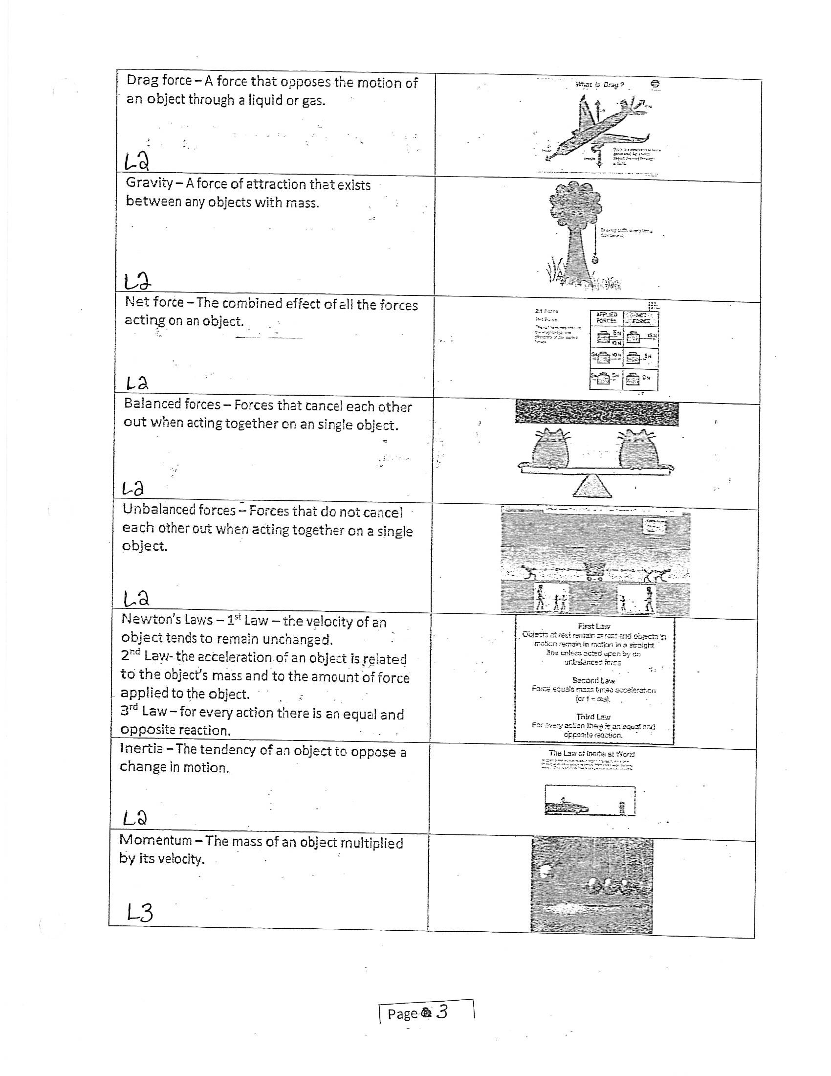 Inertia Worksheet Middle School Term 4