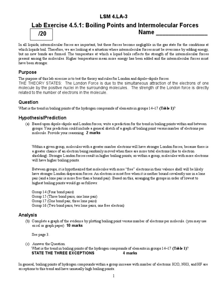 Intermolecular forces Worksheet High School Lab Example Intermolecular force Chemical Bond
