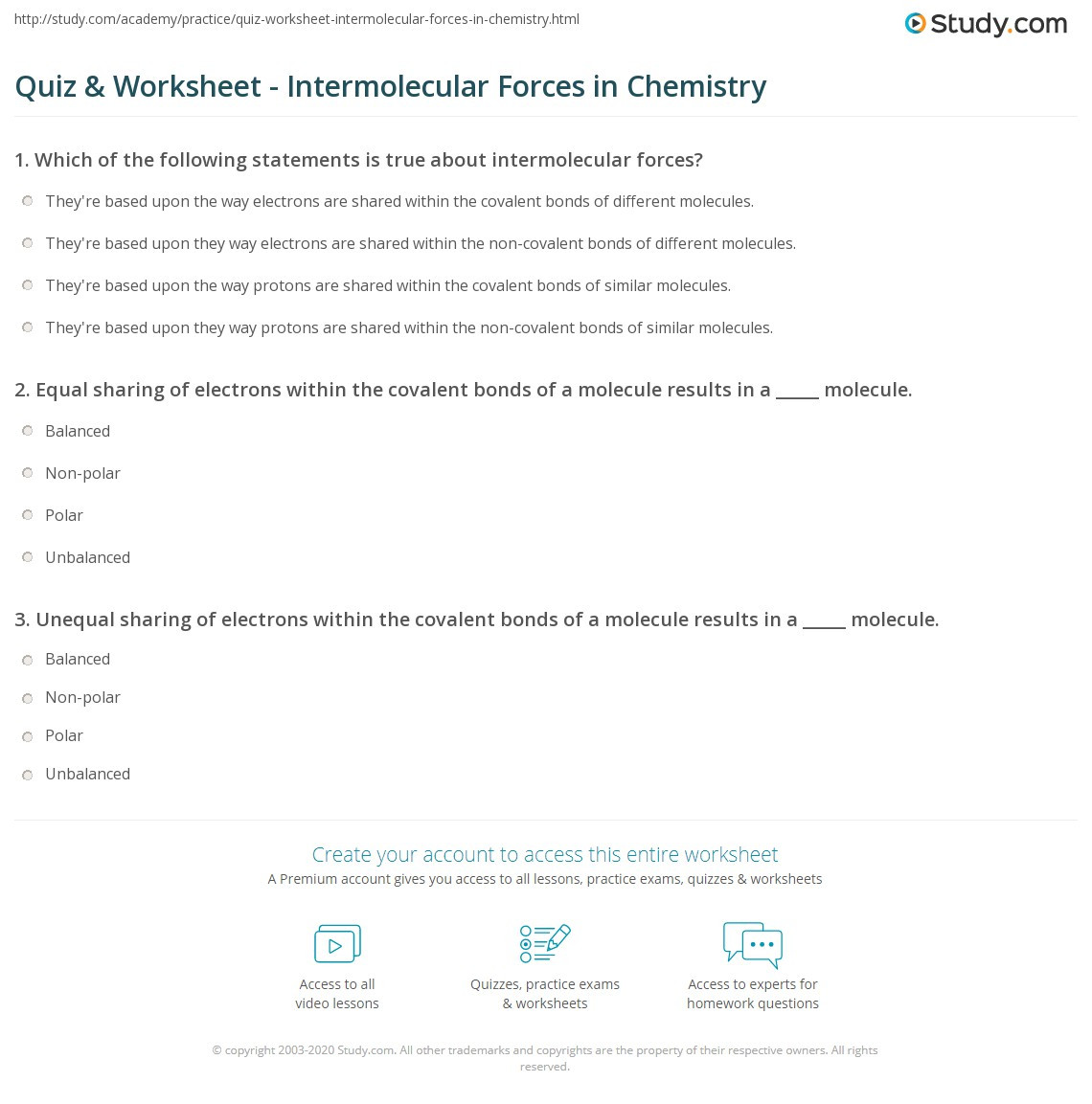 Intermolecular forces Worksheet High School Quiz & Worksheet Intermolecular forces In Chemistry