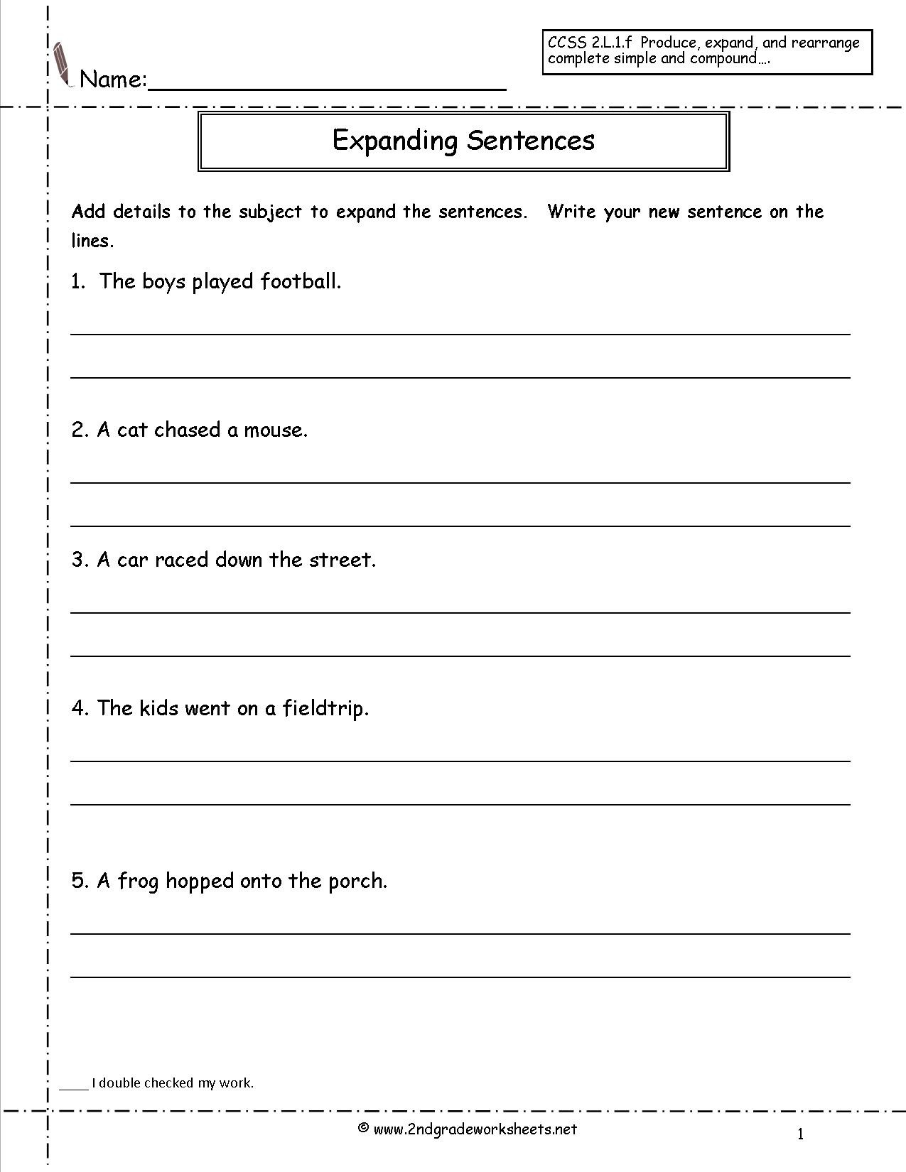 Kindergarten Writing Sentences Worksheets Copy Sentence Worksheet First Grade Printable Worksheets and