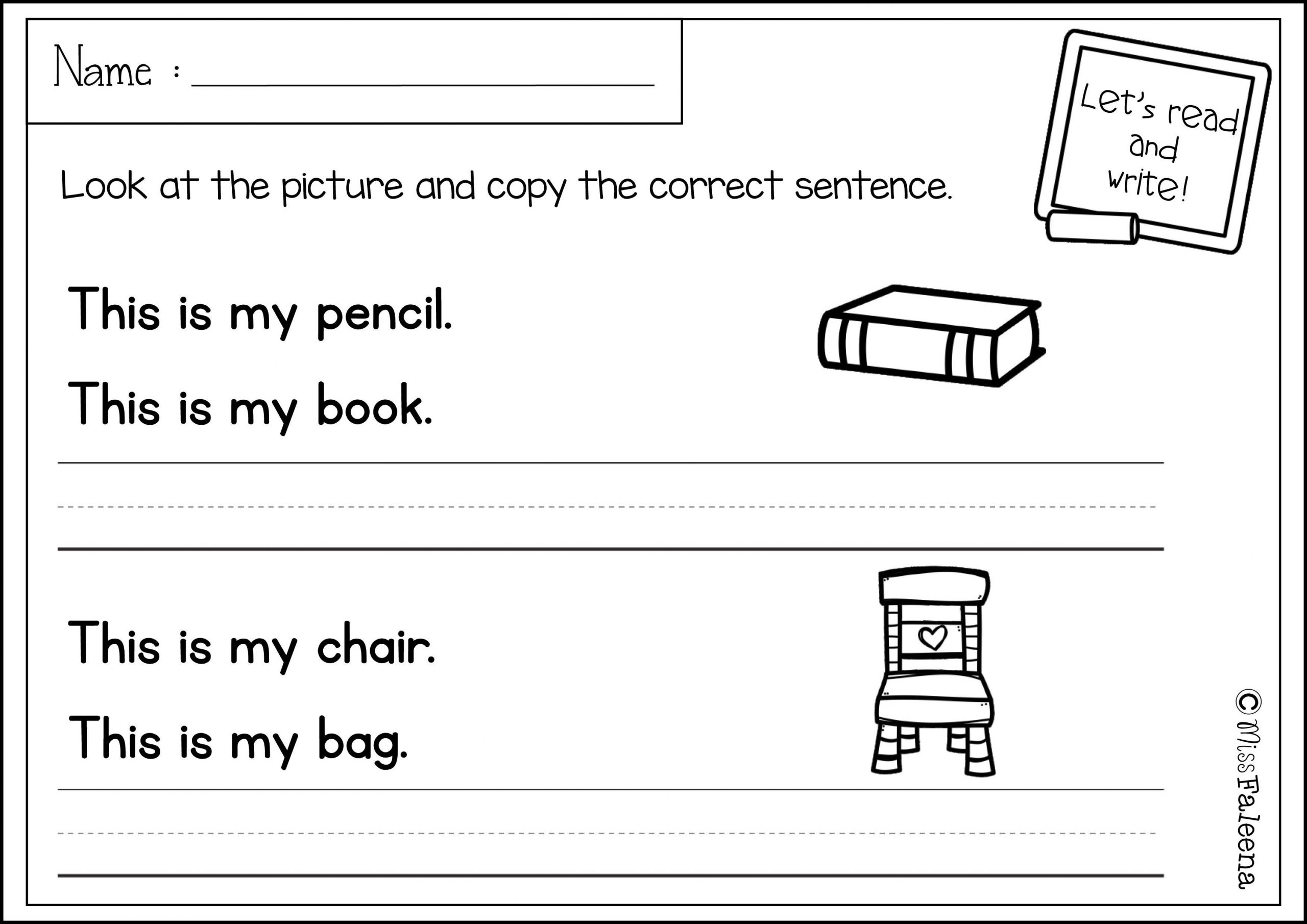 Kindergarten Writing Sentences Worksheets Free Sentence Writing