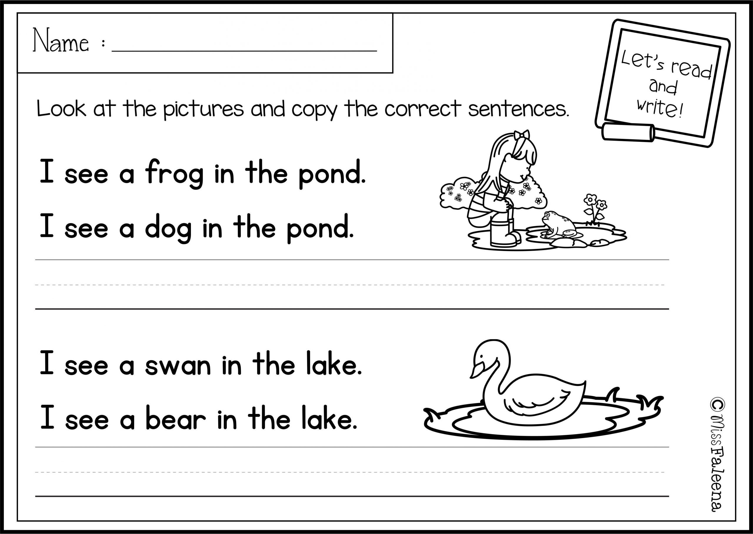 Kindergarten Writing Sentences Worksheets there are 20 Pages Of Sentence Writing Worksheets In This
