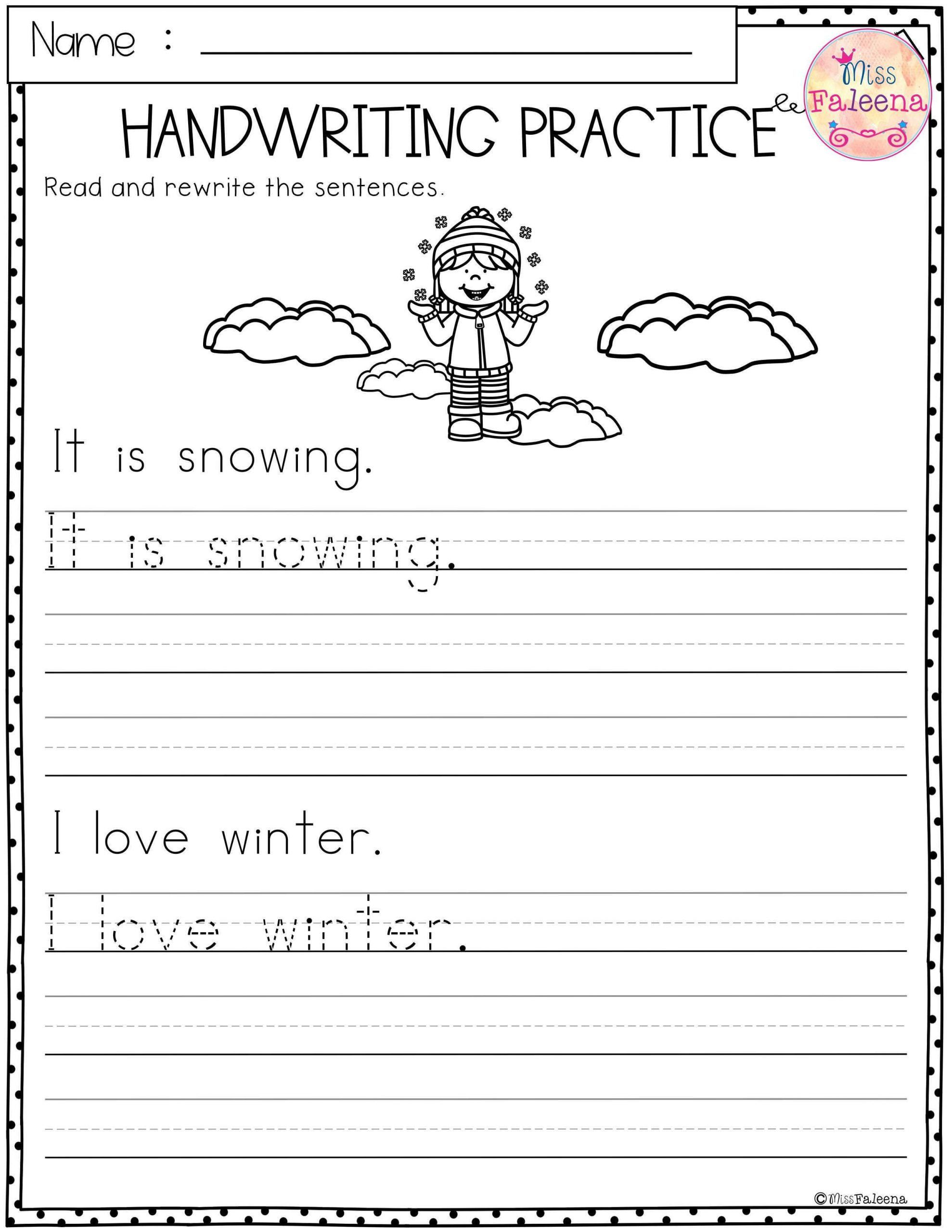 Kindergarten Writing Sentences Worksheets Winter Handwriting Practice This Product Has 20 Pages Of