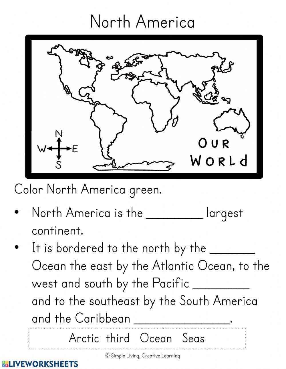 Landforms 3rd Grade Worksheets north and south America Interactive Worksheet