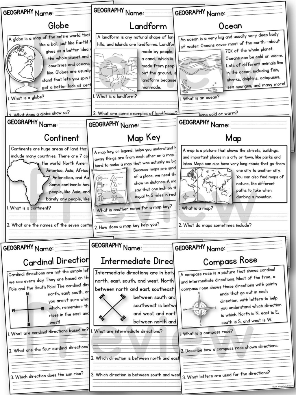Landforms 3rd Grade Worksheets Worksheet Geography Reading Prehension Passages Preview