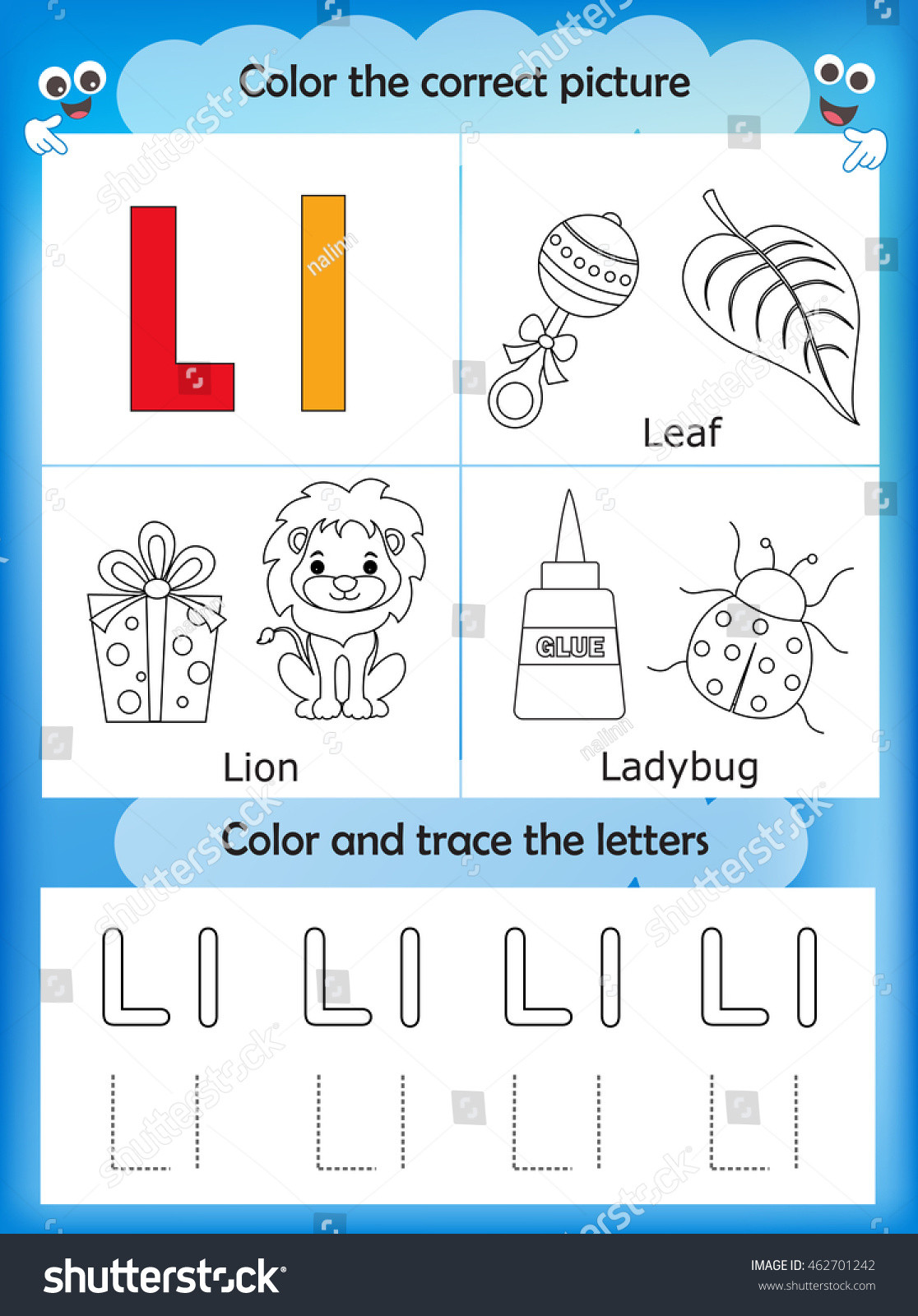 Letter L Worksheets for Preschool Alphabet Learning Letters Coloring Graphics Printable Stock