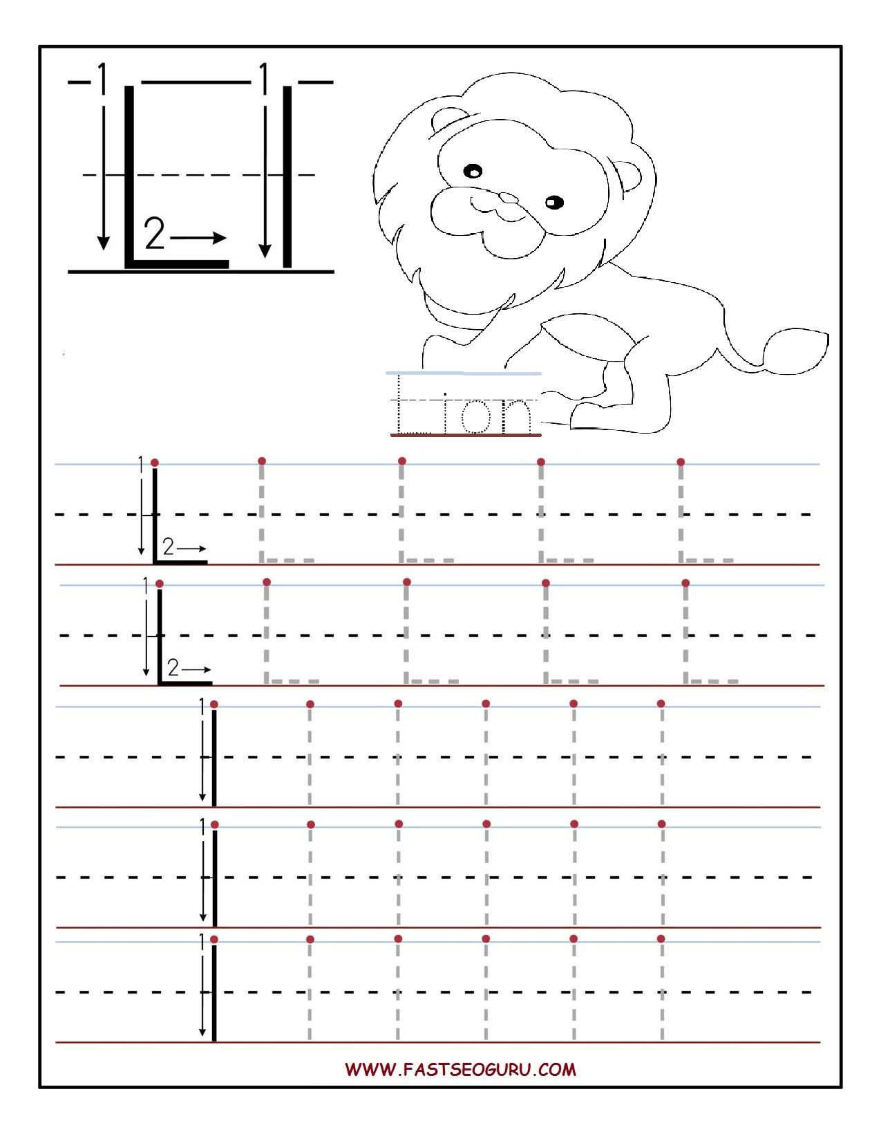 Letter L Worksheets for Preschool Printable Letter L Tracing Worksheets for Preschool