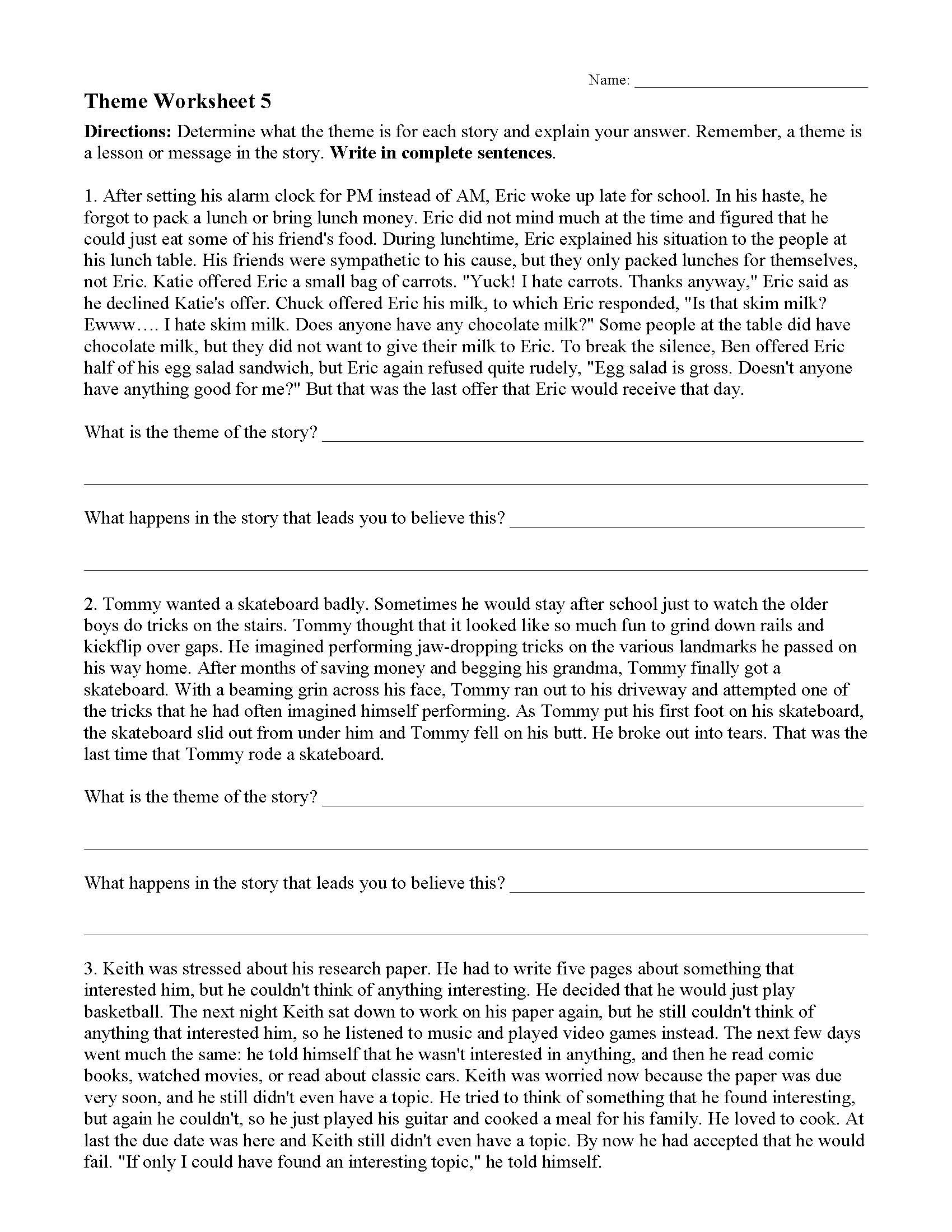 Line Plots 5th Grade Worksheets theme or Author S Message Worksheets